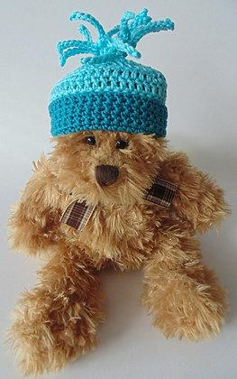 12 Inch Teddy Bear wearing Crochet Hat