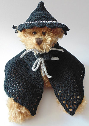 12 Inch Teddy Bear wearing Witches Hat and Cloak