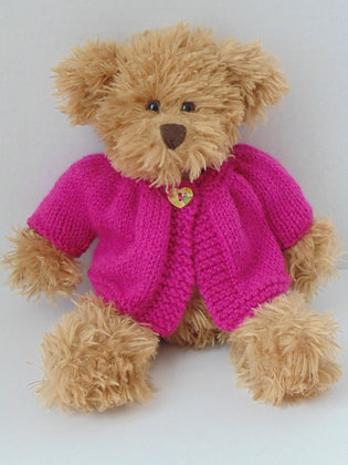 15 Inch Teddy Bear wearing Pink Cardigan