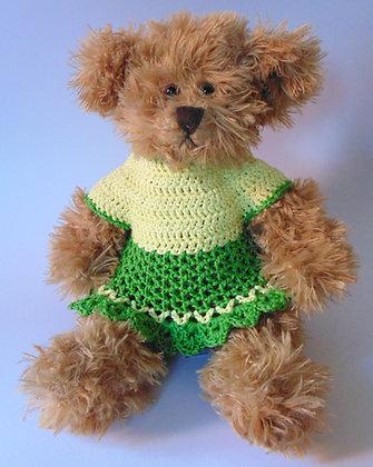 15 Inch Teddy Bear wearing Crochet Dress