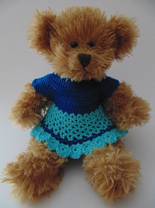 15 Inch Teddy Bear wearing Crochet Dress