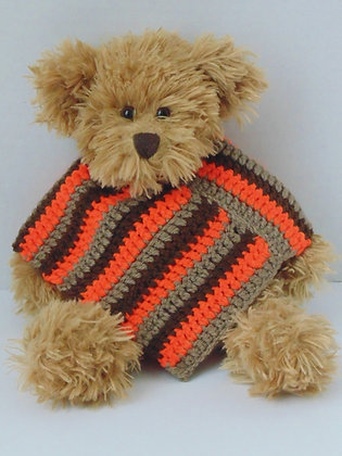 15 Inch Teddy Bear wearing Retro Poncho