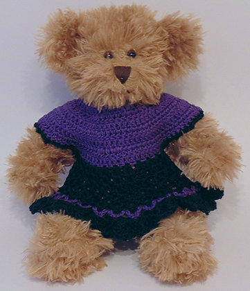 12 Inch Teddy Bear wearing Crochet Dress