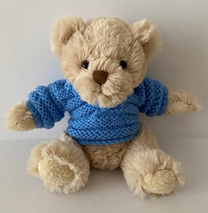 7.5 Inch Teddy Bear wearing Shawl Neck Jumper