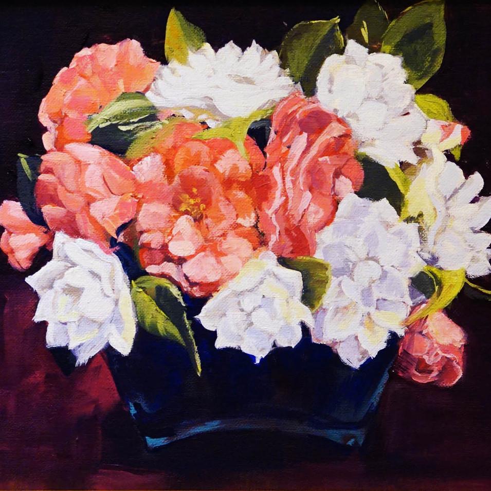 Camellias in Blue Vase