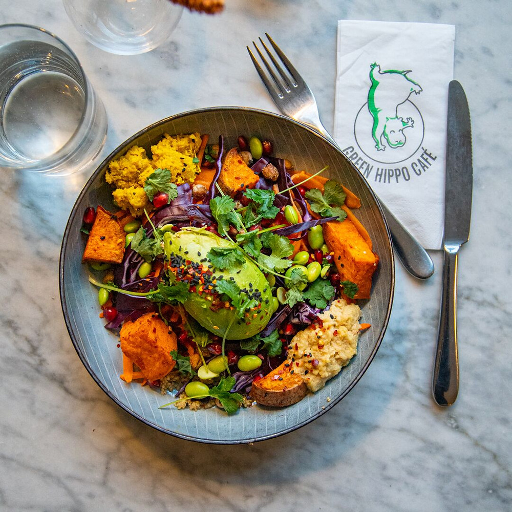 A vegan and gluten-free bowl filled with vegetables, quinoa, avocado and coriander.