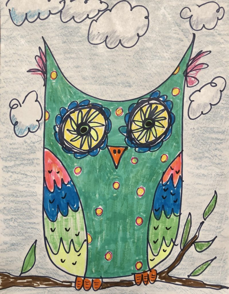 A teal owl with colorful wings that was created in one of the art classes.