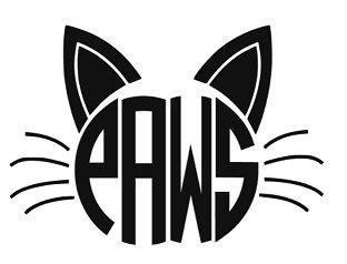 The word PAWS in a circle with whiskers on the side and 2 cat ears on the top.