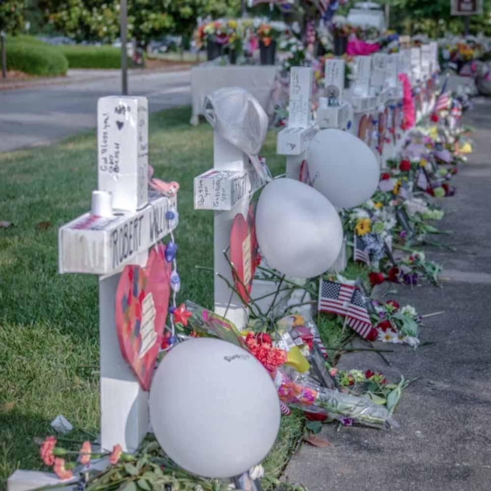 Memorial crosses in a line.