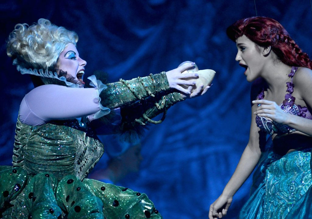 Ursula steals the voice of Ariel in the Little Mermaid.
