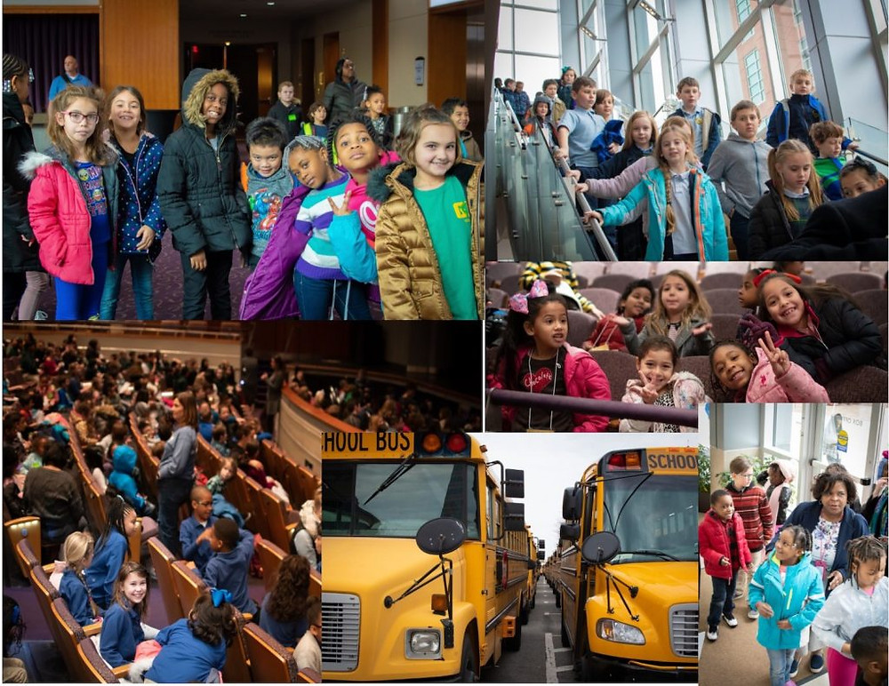 A collage of students waiting to get to their seats in the Sandler Center, including a photo of the school busses.