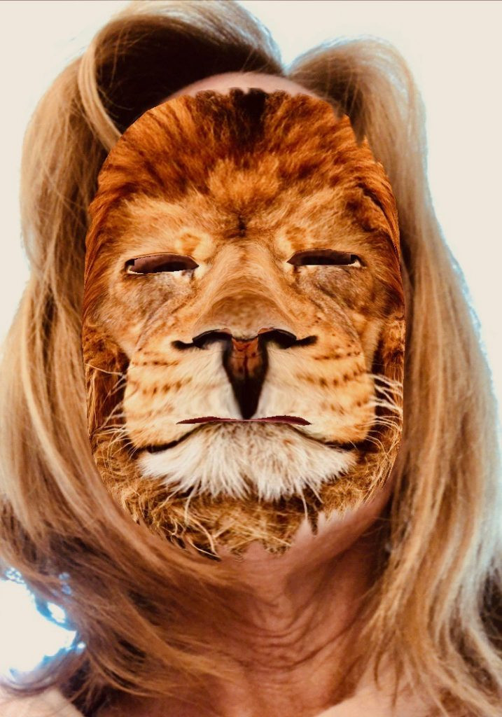 Penny Neef, except her face is a lion.