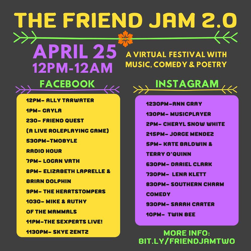 The Friend Jam 2.0 Lineup. This can also be found on their Facebook page.