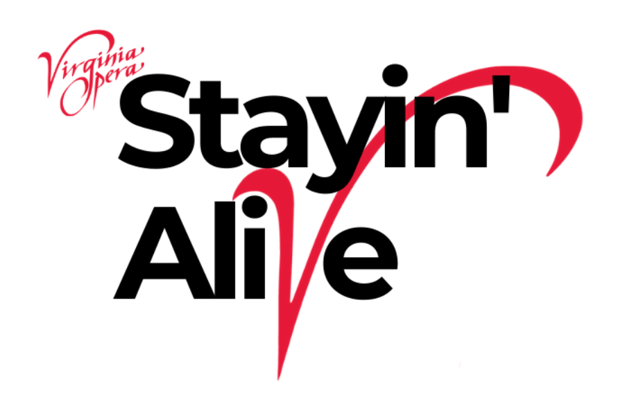 VOA Staying Alive logo, the v in Alive is red, and overlaps the rest of the letters in a fancy way. The rest of the letters are black.