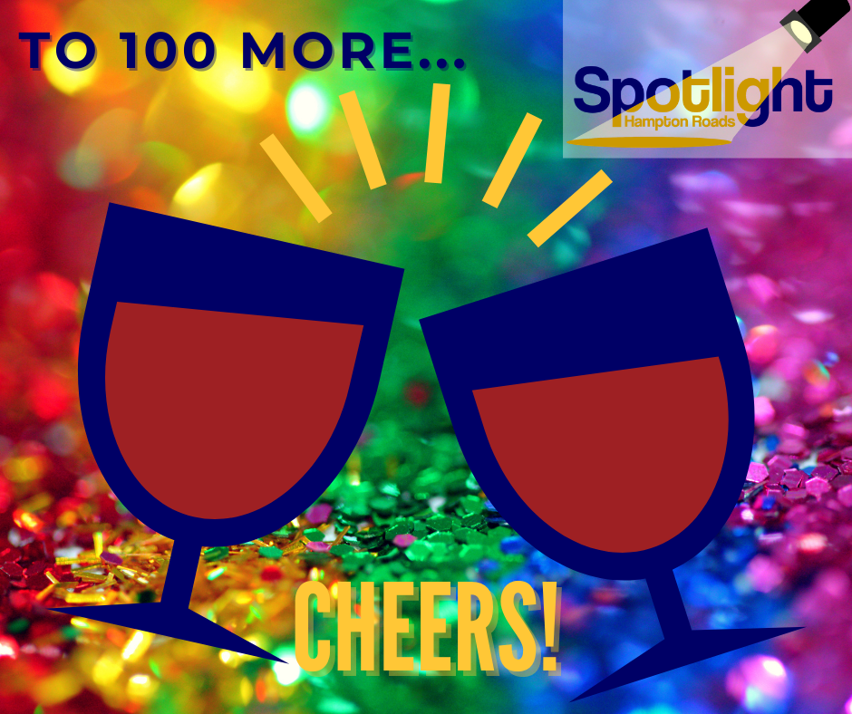 Rainbow sequined background with two cartoon wine glasses that says to 100 more... cheers! with the spotlight logo in the top right corner.
