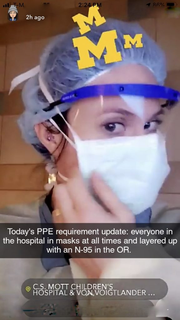 Hailey Neef in a snapchat picture demonstrating her new PPE requirements.