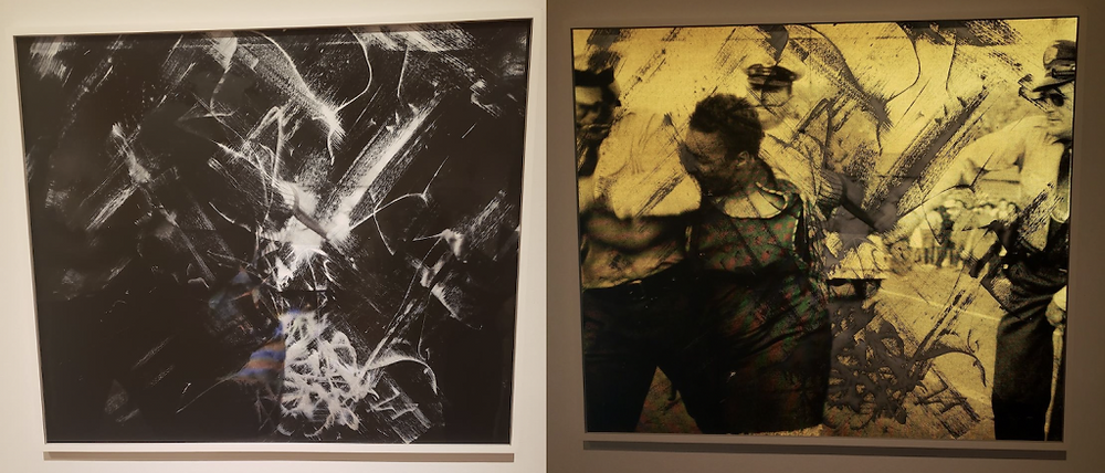 Hank Willis Thomas Turbulence (White Strokes) On the left, a photo of the work taken without a flash, it is abstract black with white strokes. On the right, a photo of the same work, this time taken with a camera flash. We can see police officers and a black man being attacked.