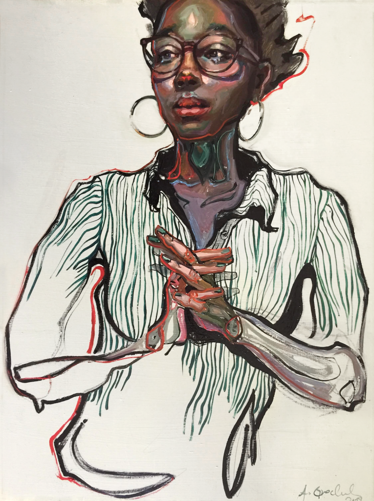 A portrait of a black women looking into the near distance. She wears a white shirt with stripes drawn incompletely to the waist. Her hands are intertwined in front of her, and what parts of her arms are visible look more like muscle and bone than skin-covered arms.