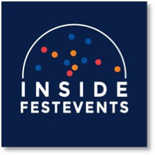 Inside Festevents podcast logo, has the name in white on a blue background with colorful dots in a white arch
