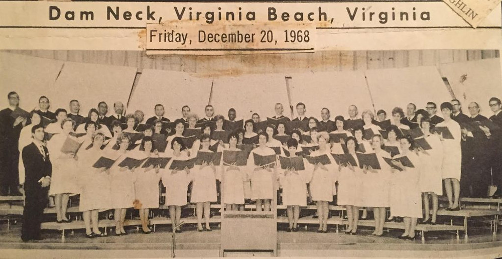 and old newspaper clipping from Friday Dec 20,. 1968 of the chorale in Dam Neck, Virginia Beach