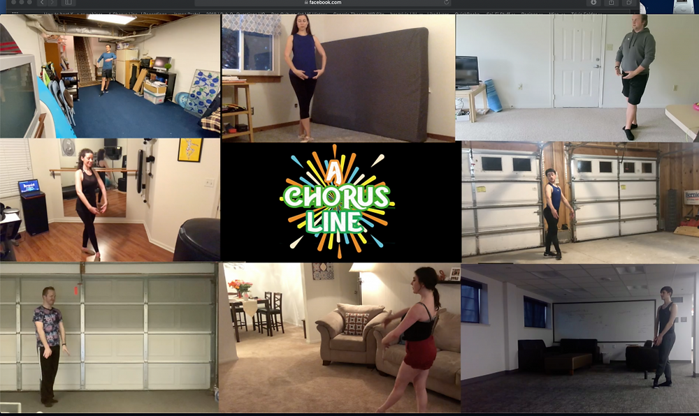 The cast learns the choreography for a Chorus Line, each on their separate in homes and garages screens on Zoom.