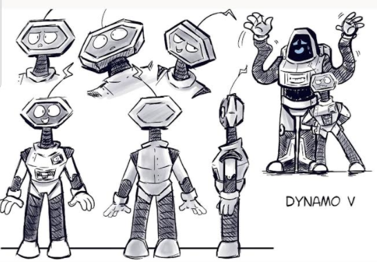 A cartoon robot drawn by one of the leaders