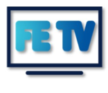 "Festevents TV logo, says ""FE TV"" in blue inside a black outline of a TV"
