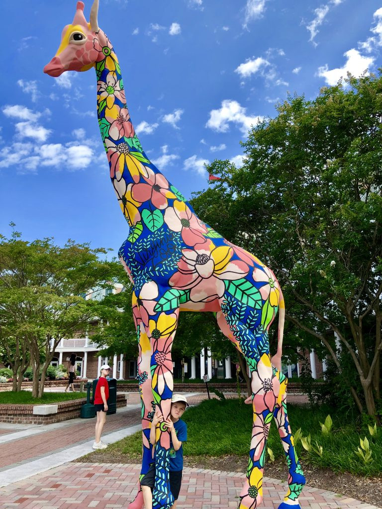 Colorful giraffe statue at the Virginia Zoo
