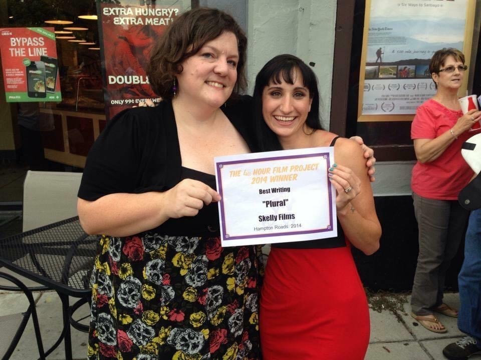 Anna Tozzi Barbay and Heather Smith outside the Naro with their award