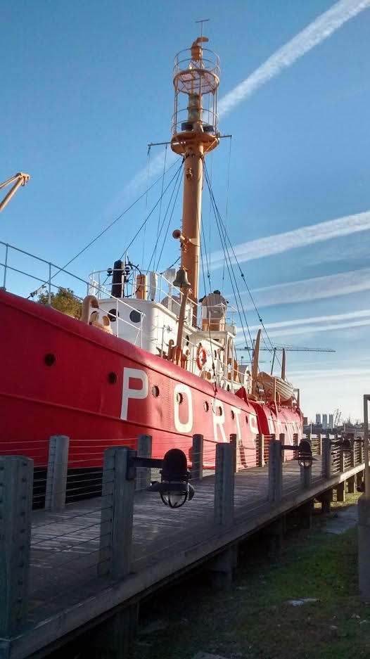 A large red boat called the Lightship Portsmouth.