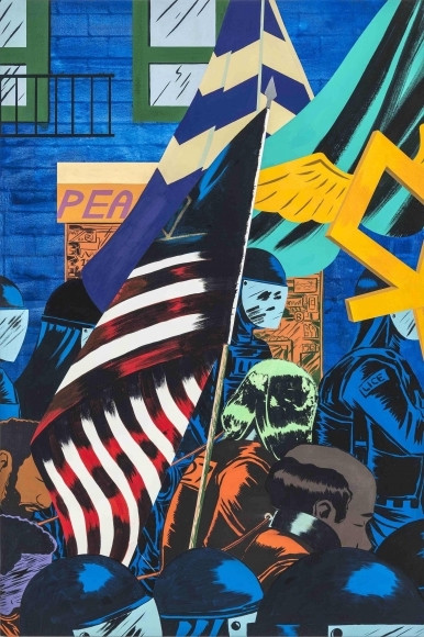 Somewhat abstract painting in blues and yellows with an american flag center, and masked figures marching surrounding a crowd of chained prisoners in orange.