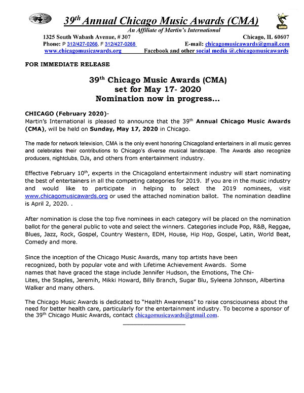 Press release 39th Annual Chicago Music