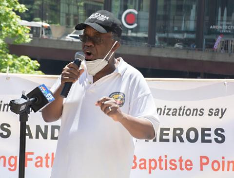 Ephraim Martin speaking at DuSable rally