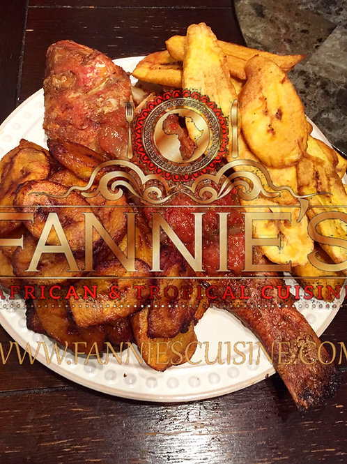 *Whole baked Fish, Red Snapper, and Pepper Sauce