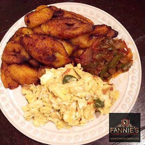 Fried Plaintain with Fried Eggs and Sauce