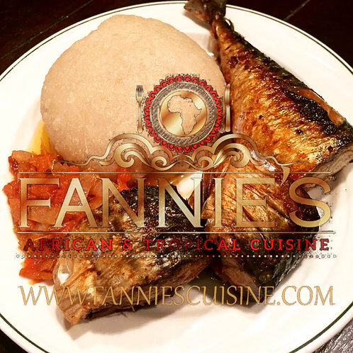 Eba with Fish, Chicken, and Pepper Sauce