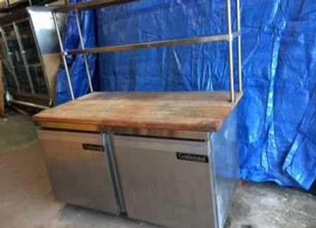 Low Boy - Continental Refrigerator & Freezer w/wood cutting board + shelf