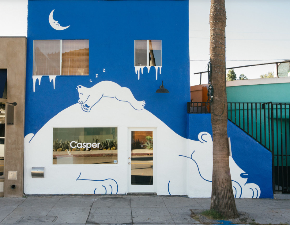 "Casper is primarily an on-line company.  However, they realize a couple of ""pop ups' where you can schedule a 'nap appointment' might be a good idea.  Check out this one in the trendy section of Venice Beach, CA.  Love the inviting, simple, consistent branding."