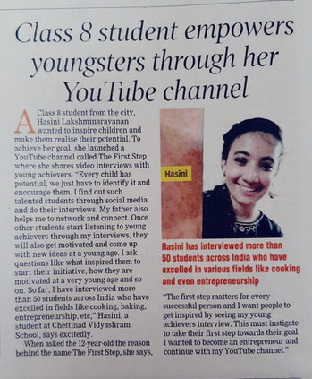 CLASS 8 STUDENT EMPOWERS YOUNGSTERS THROUGH HER YOUTUBE CHANEL