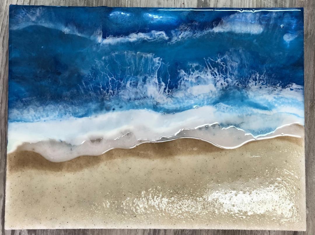 Resin Beach Art on Canvas