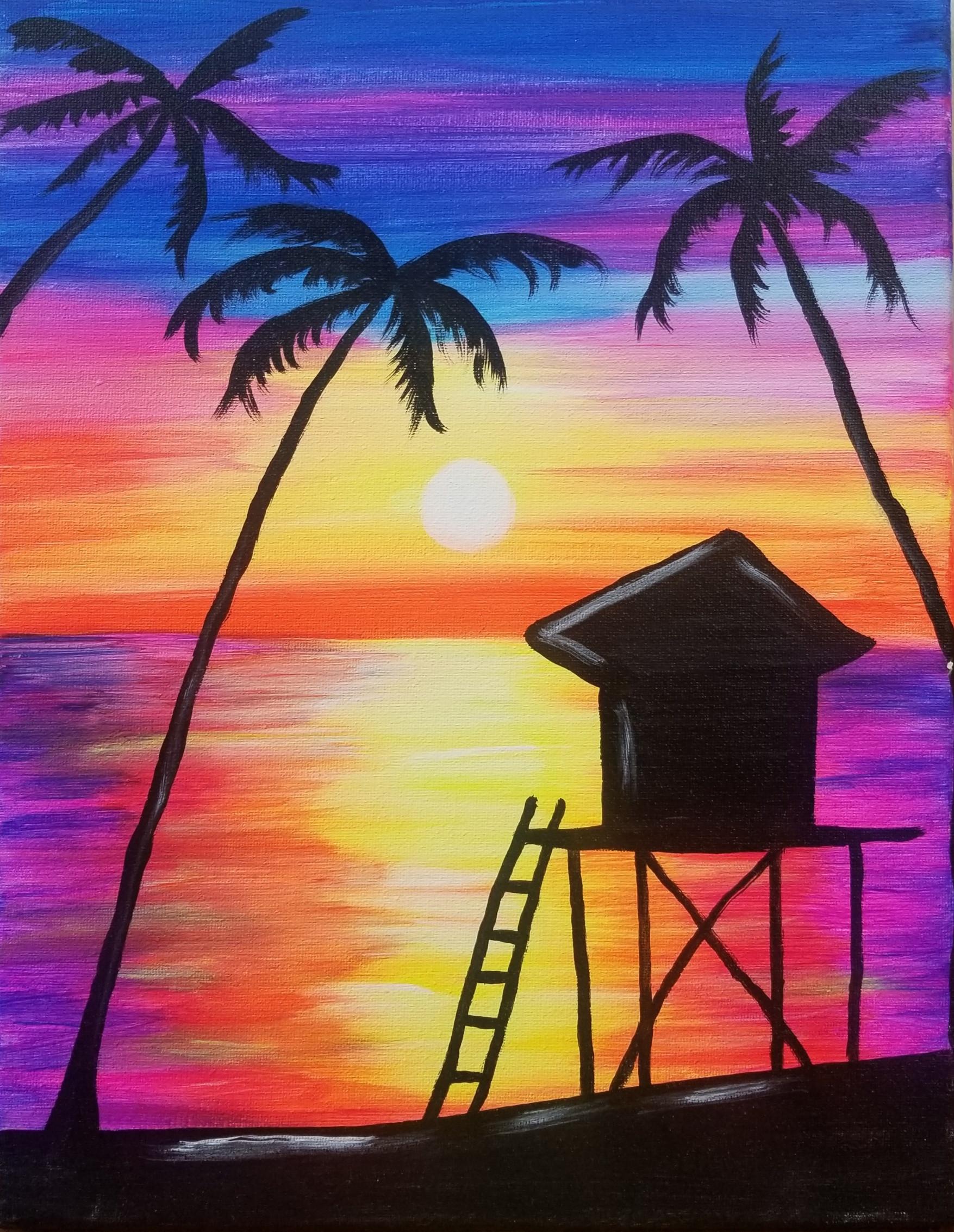 Neon Hut Sunset