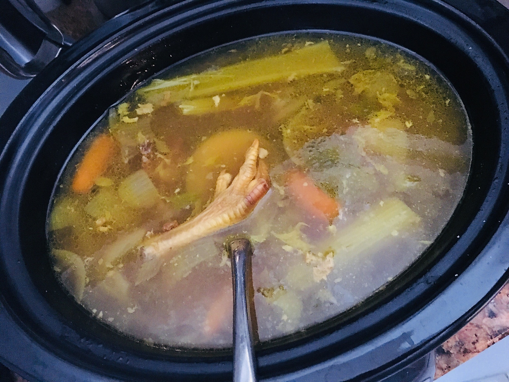 Bone Broth- yes that's a chicken foot