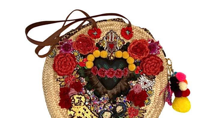 Capazo redondo Corazón con flores