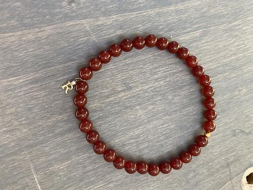 Coral Bead Inital Bracelet