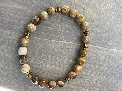 Carmel Agate Brass Bead Bracelet