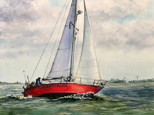 Акварель с красной лодкой