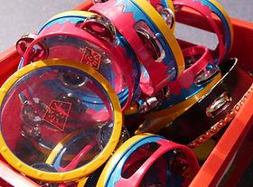 Children's tambourines in Sunday worship
