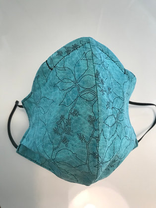 Turquoise Floral, Shaped Mask