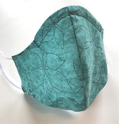 Turquoise Floral, Shaped Premade Mask