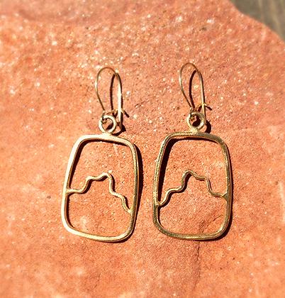 14K Yellow Gold Mountain Earrings